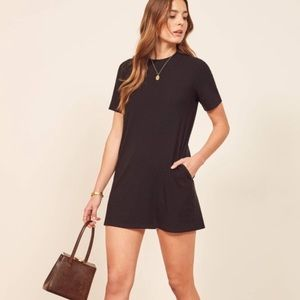 Reformation black Shirt dress with pockets size xs